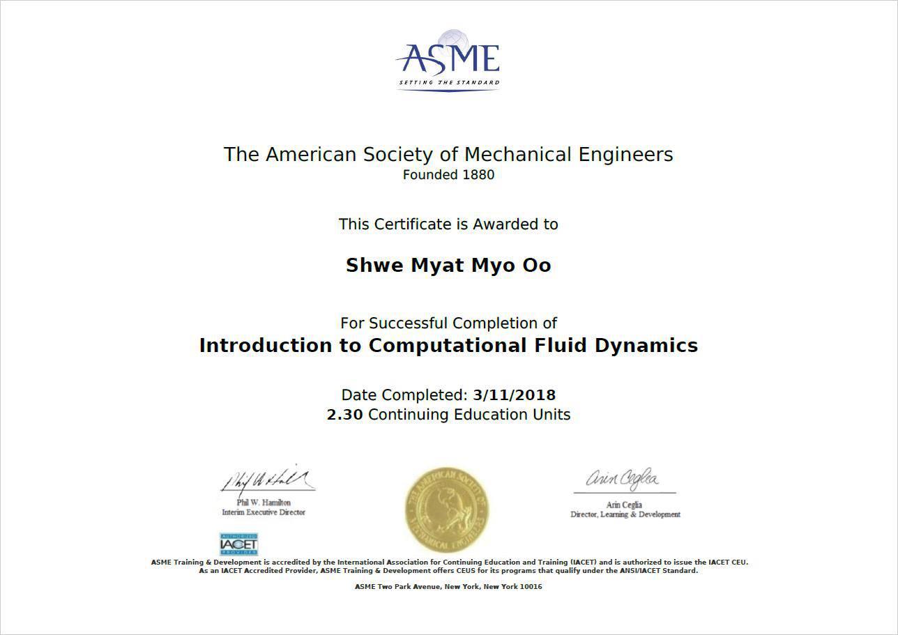 ASME CFD Certification